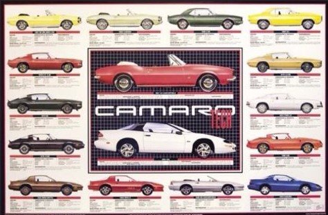 Camaro Tech Data History 1967-1993 Original Car Poster Rare (Poster Camaro)