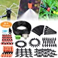 50ft DIY Garden Plants Irrigation System,Plants Watering Kit with Spray Nozzle,6-Stream Drippers,1/4-inch Hose Tubing for Outdoor Garden,Containers and Raise-Bed