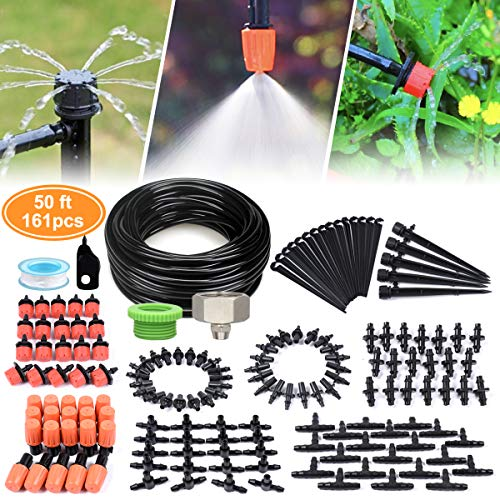 DIY Garden Drip Irrigation Kit, Plant Watering System with 50ft 1/4-inch Blank Distribution Tubing Hose Atomizing Nozzles - System Dripper Pot