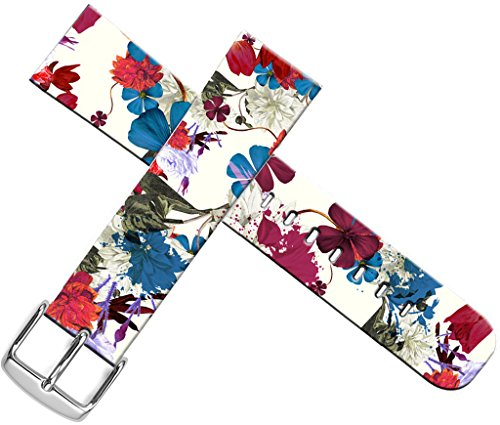Iwatch Band Leather,Apple Watch Strap Sport 38Mm Genuine Leather Replacement Colorful Wonderful Flower Floral Texture Design