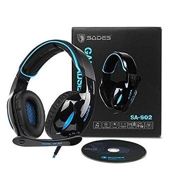 Auriculares para juegos Sades SA902 Auriculares Cascos Gaming de Diadema Cerrados con Micrófono USB LED Dolby