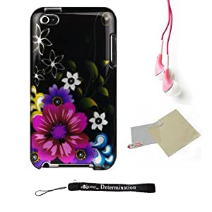 Black Midnight Garden 2pc Hard Case Protective Cover Snap On Made for Apple iTouch 4 (4th Generation 8GB - 16GB - 32GB)