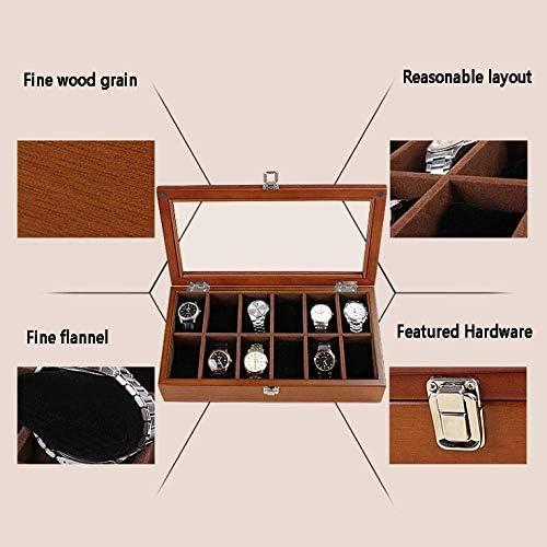 MU Scatole per gioielli in legno Scatola per orologi Hombre Mujer Regalo Viaje Lucernario in vetro a 12 griglie Scatola di immagazzinaggio bianca vintage 37 * 20 * 8Cm