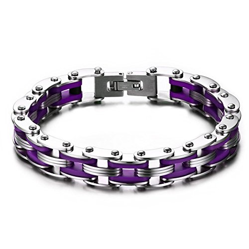 Stainless Purple Silicone Bicycle Bracelet product image