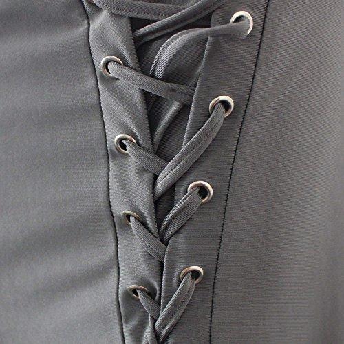 Ragazza Dritti Trousers Moda Eleganti Taille Slim Pantaloni Casual Lunga Estivi Di Chic Donna Metallici Abbigliamento Tendenza Nahen Stoffa Fit Lacci Grau Con Spacco Occhielli U1w6xqWn