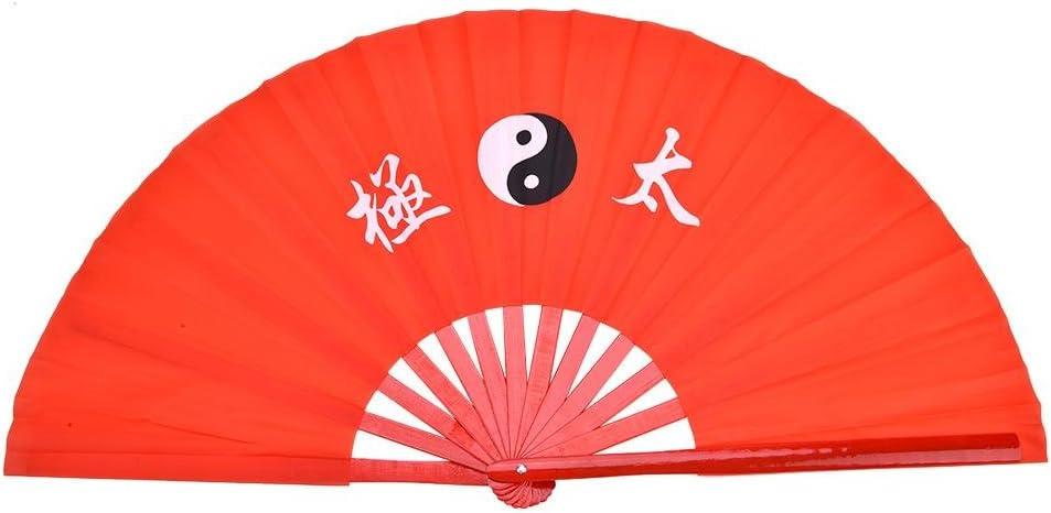Alomejor Kung Fu Tai Chi Fan, Ventilador de bambú para Artes Marciales y dragón