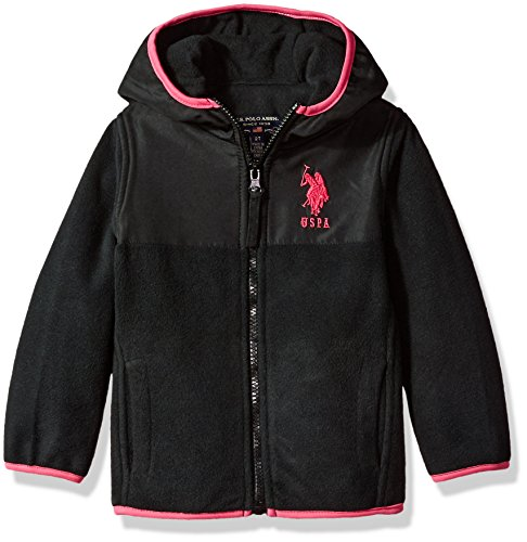 Little Girls Jacket - US Polo Association Baby Little Girls' Fashion Outerwear Jacket (More Styles Available), Dewspo-UA93-Black, 5/6