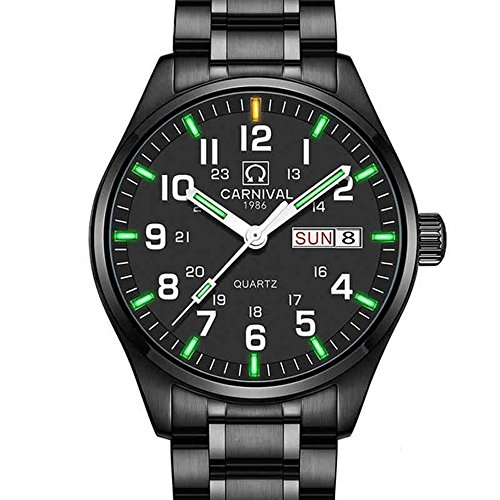 Mens Luminous Tritium Watch Waterproof Sapphire Glass Black Stainless Steel Swiss Quartz Military Watches (Green Light - Black (Mens Swiss Military Stainless Steel)