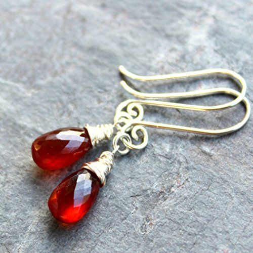 Spessartite Garnet Earrings Sterling Silver Rust Red Orange Faceted Gemstone Briolettes
