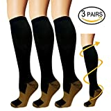 Copper Compression Socks For Men & Women(3 Pairs)-Boost Performance, Speed Up Recovery, Better Blood Circulation - For All Sports, Flight, Air Travel, Nurse, Medical Use (L/XL, Black)