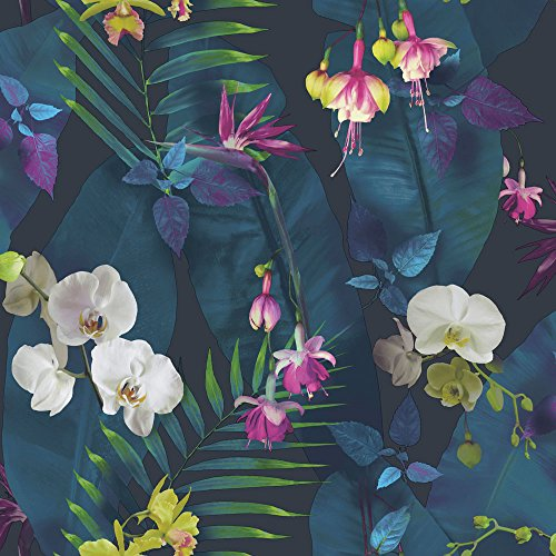 (Arthouse, Pindorama Tropical Floral Flower Wallpaper, Navy Blue)