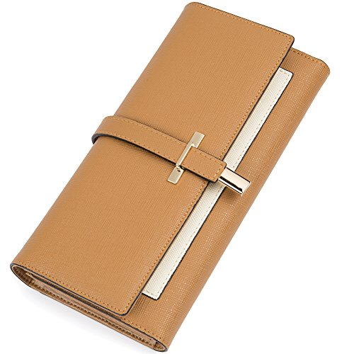 Clearance RFID Blocking Leather Wallet for Women Slim Clutch Purse Long Designer Trifold Checkbook Ladies Credit Card Holder Organizer Brown