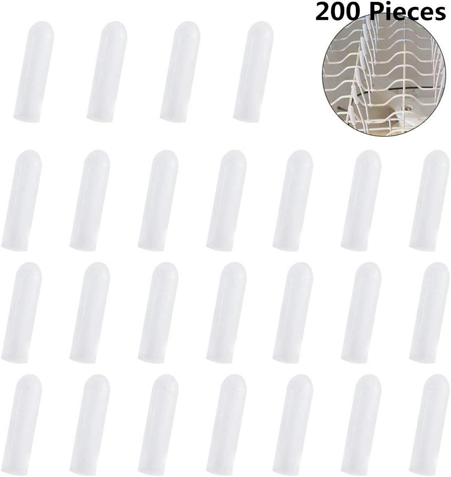 200pcs Universal Dishwasher Prong Rack Caps Tips for Dishwasher Racks Repair 1.18 inch Long Tip Tine Cover Caps (White)