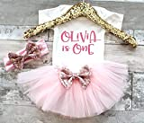 Birthday Girl 1st Birthday Outfit Pink and Gold 1st Birthday Girl Outfit Glitter Birthday Shirt Birthday Tutu Set Cake Smash Outfit