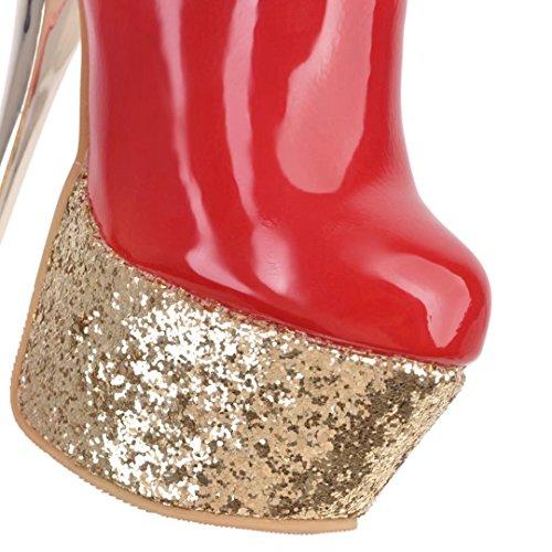 AIYOUMEI Damen Lackleder Stilettos Hoher Absatz Plateau Stiefeletten mit Reißverschluss und Kunstfell Rot