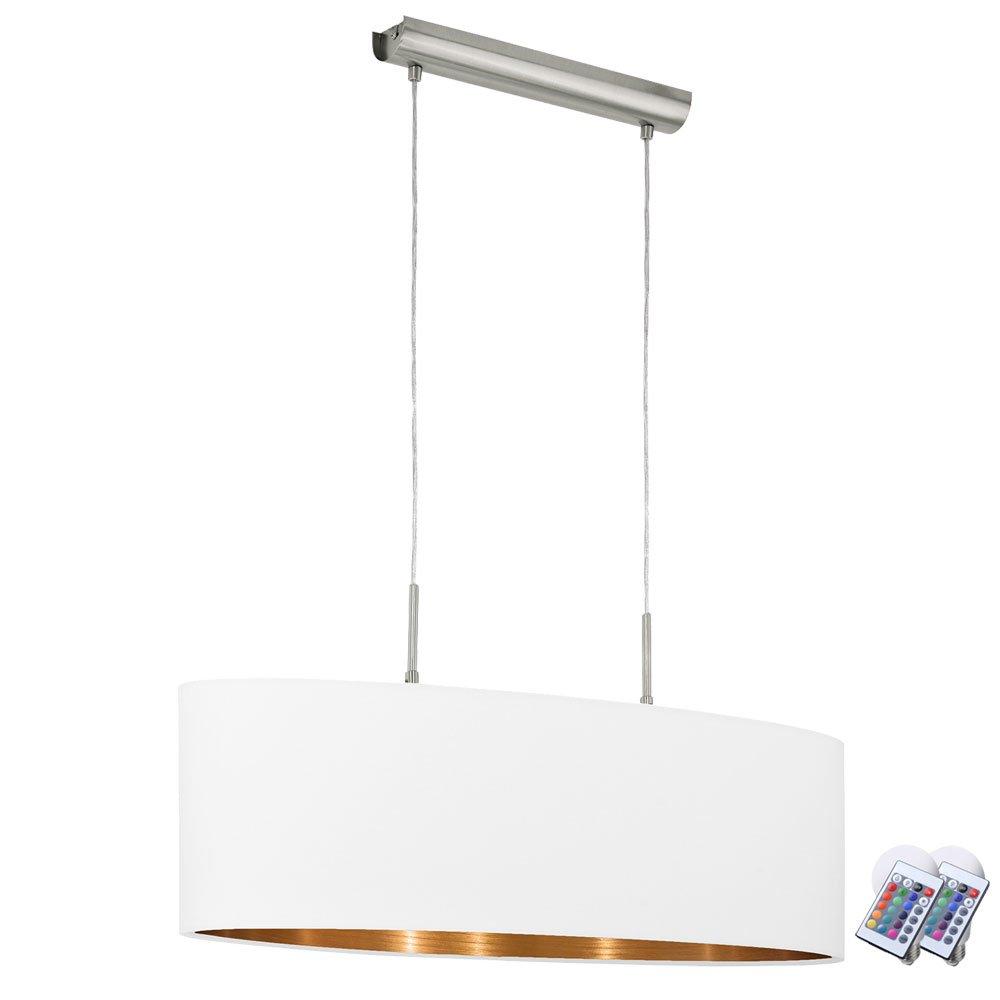 Hänge Pendel Leuchte Stoff Fernbedienung kupferfäbig weiß im Set inklusive RGB LED Leuchtmittel