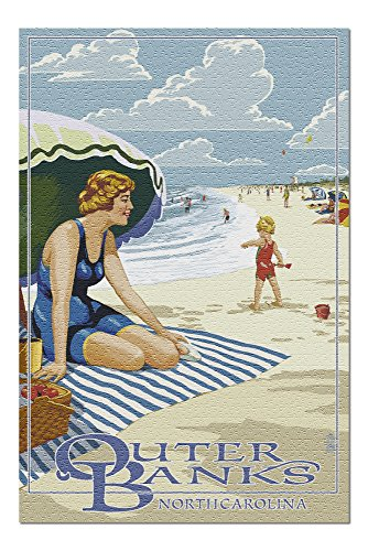 - Outer Banks, North Carolina - Woman on Beach (20x30 Premium 1000 Piece Jigsaw Puzzle, Made in USA!)
