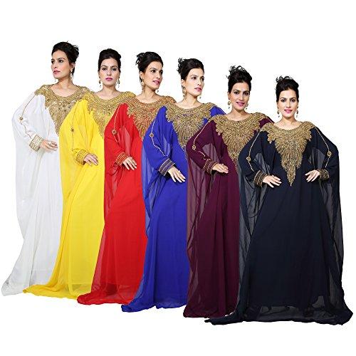 Vestido largo islámico islámico Kaftan árabe de Farasha de los hombres de los UAE Style de Bedi - tamaño único - (KAF-2961) Off White