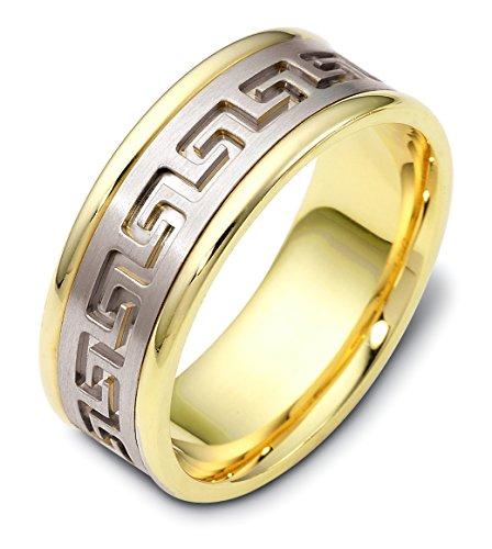 - Mens 18K Two-Tone Gold, Greek Key Embossed 8MM Wedding Band (sz 12.5)