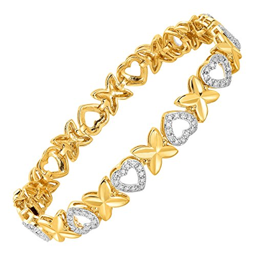 'Xo' Link Bracelet with Diamond in 18K Gold Flashed & Sterling Silver-Plated Brass