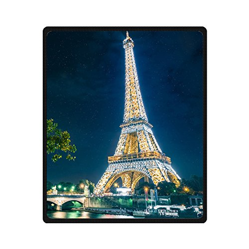 - Custom Starry Night Shining Eiffel Tower Supersoft Throw Fleece Blanket 50