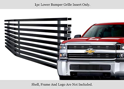 (APS Compatible with 2015-2019 Chevy Silverado 2500HD Stainless Black Bumper Billet Grille C66319J)