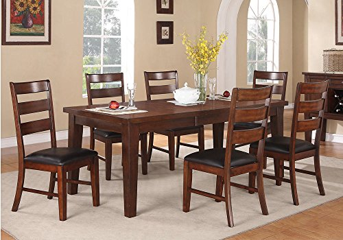 1PerfectChoice 7 pcs Dining Set Rectangular Table w/ Leaf Upholstered PU Side Chairs Dark Brown