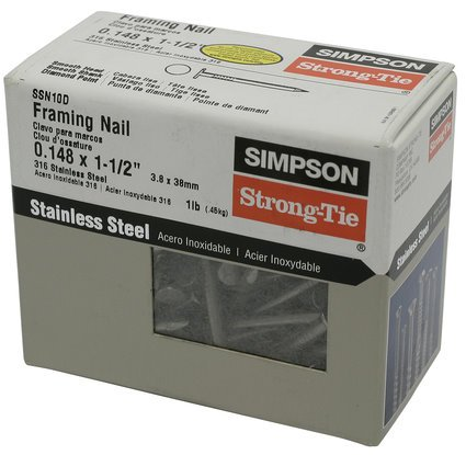 "Simpson Strong Tie SSN10D 10d x 1-1/2"" Joist Hanger Nails 316 Stainless Steel 1-lb per Package"
