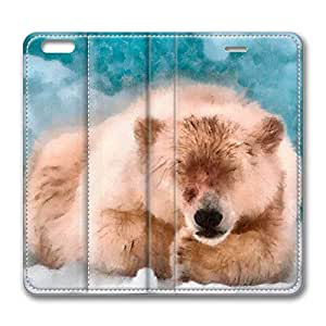 iPhone 6 Case, iPhone 6 Leather Case, Fashion Protective PU Leather Slim Flip Case [Stand Feature] Cover for New Apple iPhone 6(4.7 inch) - Polar Bear Sleeping Dap Watercolor