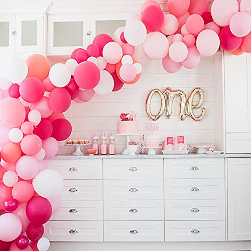 Topllon Latex Party Balloons 105Pcs 10In Hot Pink Round Balloon Macaron 6 Colors for Party Decoration Birthday Wedding Baby Shower (Pink, Light Pink, Rose Red, Dark Rose Red, Coral, White)