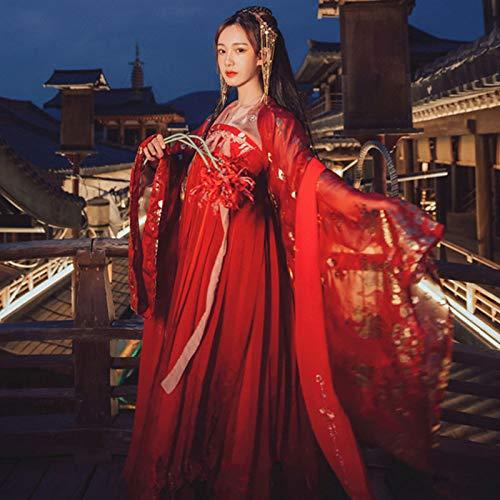 SUNJING Hanfu Vestido Estilo Chino Mujer/Mujer Rojo Elegante ...