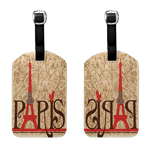 (Luggage Tags 2 Pcs Set Vintage,Paris Vintage Floral French Eiffel Tower City Holiday Stylish Postcards Gifts,Red Brown Ecru Getaway Luggage Tag)