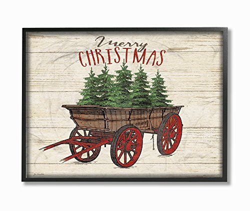 Stupell Industries Merry Christmas Tree Wagon Framed Giclee Texturized Art, Proudly Made in USA