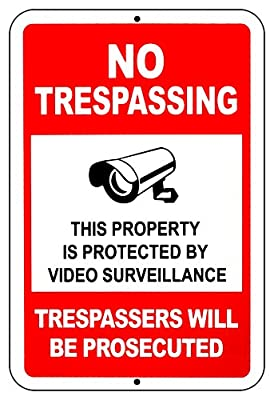 "Video Surveillance cctv signs No Trespassing Aluminum Metal Dibond 1/8"" Thick Signs by Lanpar inc"