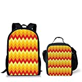 Lunch Bags,Yellow Chevron,Arrows Geometric Design in Vibrant Warm Colors Waves Classical,Red Apricot Marigold,Print,Two Piece Set