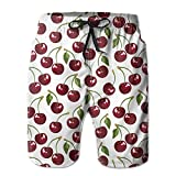 HYHACZX Cherry Men's Board Shorts Bathing Suits Swimming Trunks Beach Pants with Mesh Lining Swimwear Bathing