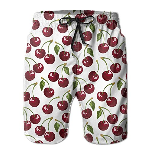 HYHACZX Cherry Men's Board Shorts Bathing Suits Swimming Trunks Beach Pants with Mesh Lining Swimwear Bathing by HYHACZX (Image #1)