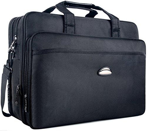 Briefcase bag, 17' Business Laptop Shoulder Bag,Nylon Hybrid 2-in-1 Messenger Bag Computer Bags for MacBook Pro / Notebook / ASUS / Acer / HP / Dell Alienware / Lenovo / Tablet - Black