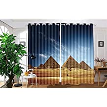 "vanfan 2 Panel Set Digital Printed Blackout Window Curtains for Bedroom Living Room Dining Room Kids Youth Room Window Drapes(W54""x L45"", Giza valley with Great pyramids and)"