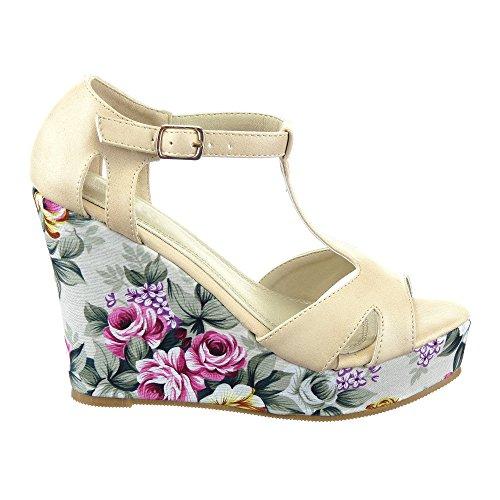 Sopily - Scarpe da Moda sandali zeppa cinturino alla caviglia donna fiori Tacco zeppa piattaforma 11 CM - Beige