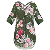 ®CreazyDog Womens Flora Print V Neck Zipper Chiffon T-Shirts Casual Loose Tops Tunic Blouse (Army Green, XXXL)