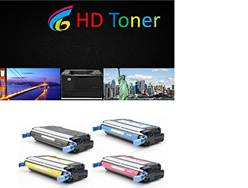 HD© Remanufactured Laser Toner Cartridges for HP Color LaserJet 4700: 1 Black Q5950A, Cyan Q5951A, Magenta Q5953A & Yellow Q5952A for the LaserJet 4700, 4700dn, 4700dtn, 4700n, 4700ph+