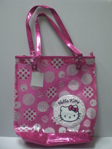 Hello Kitty Vynil Tote Bag: Hot Pink Polka Dots