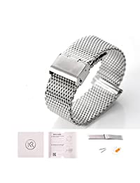 KR-NET Stainless Steel Strap Metal Watch Band Bracelet For Pebble Time Round 14mm (Milanese Mesh/ Silver)