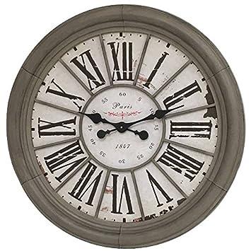 Grande Horloge Murale Horloge de Gare Industrielle Campagne 76 cm ... 3b9fae6c3c9f