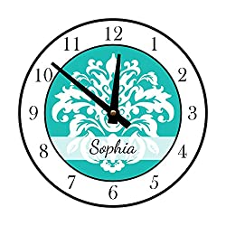 Instant Murals Design Personalized Elegant Damask Wall Clock, White and Teal