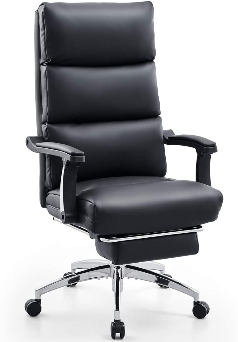 Reclining Computer Chair with Textured Leather and Ergonomic Segmented Back High Back PU Leather Office Chair with Footrest and Thick Padding Ticova Executive Office Chair