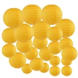 Just Artifacts Decorative Round Chinese Paper Lanterns 24pcs Assorted Sizes (Color: Pineapple Yellow)