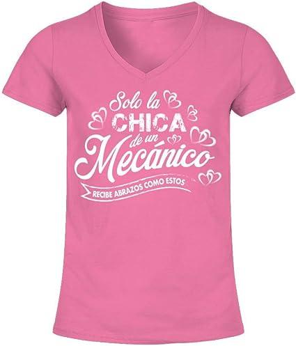 Camiseta de Pico Mujer Solo la Chica de un mecanico recibe Abrazos como Estos: Amazon.es: Ropa y accesorios