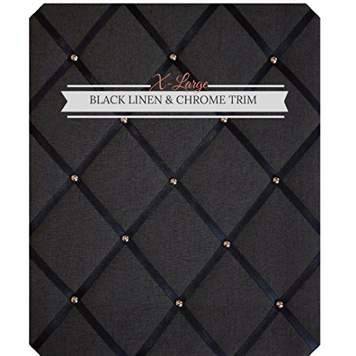 X Large Size Black Linen Memo Board with Chrome -